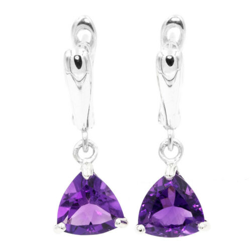 EARTH MINED 9MM AFRICAN AMETHYST NATURAL RARE GEMS STERLING SILVER 925 EARRING