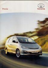 Toyota Previa 2004-06 UK Market Sales Brochure T2 T3 T Spirit 2.4 2.0 D-4D