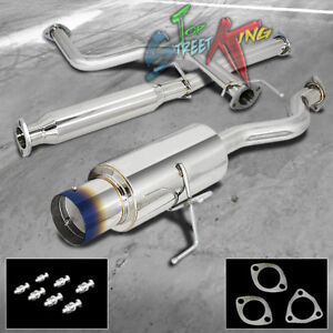 """FOR 94-01 INTEGRA GS//RS//LS 4/"""" ROLLED MUFFLER TIP RACING CATBACK EXHAUST SYSTEM"""