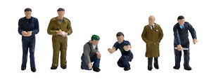 Factory-Workers-amp-Foreman-x6-Bachmann-36-403-OO-painted-figures-F1
