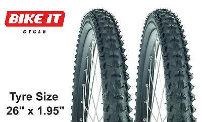 "Money-saving Pair Cycle Tyres 26"" X 1.95 - Mtb Mountain Bike Block Tread Hybrid"