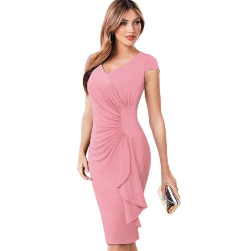 Women/'s Vintage V-Neck Cap Sleeve Formal Business Evening Party Dress B388