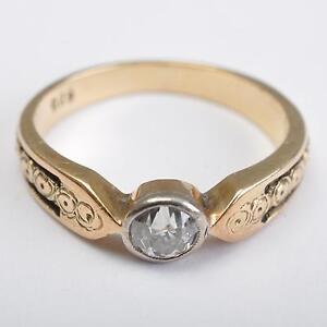 Jugendstil Solitar Ring Diamant 0 22ct 585er 14 Karat Gold