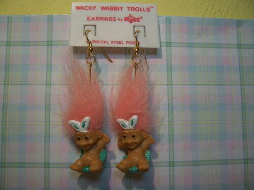 """RABBIT EARRINGS NEW IN PACKAGE 2/"""" Russ Troll Dolls EASTER WACKY WABBIT"""