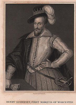 100% Wahr 1832 Georgianisch Datierter Aufdruck ~ Henry Somerset First Marquis Of Worcester