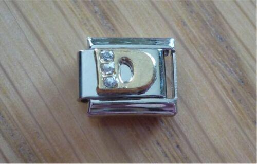 Italian Charms Rhinestone Letter D Fits Classic Size Italian Charm Bracelet