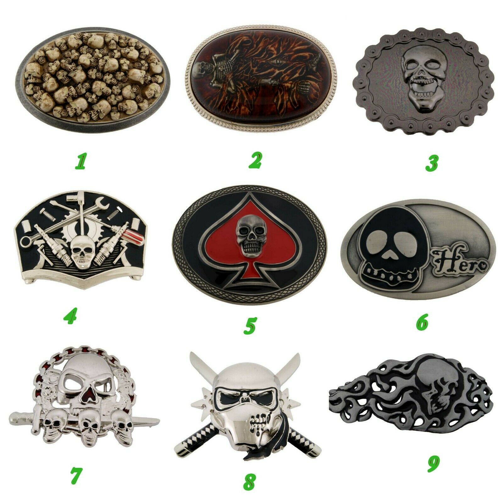 Sugar Skull Belt Buckle Tattoo Halloween Party Costume Style Pirate Flaming Men