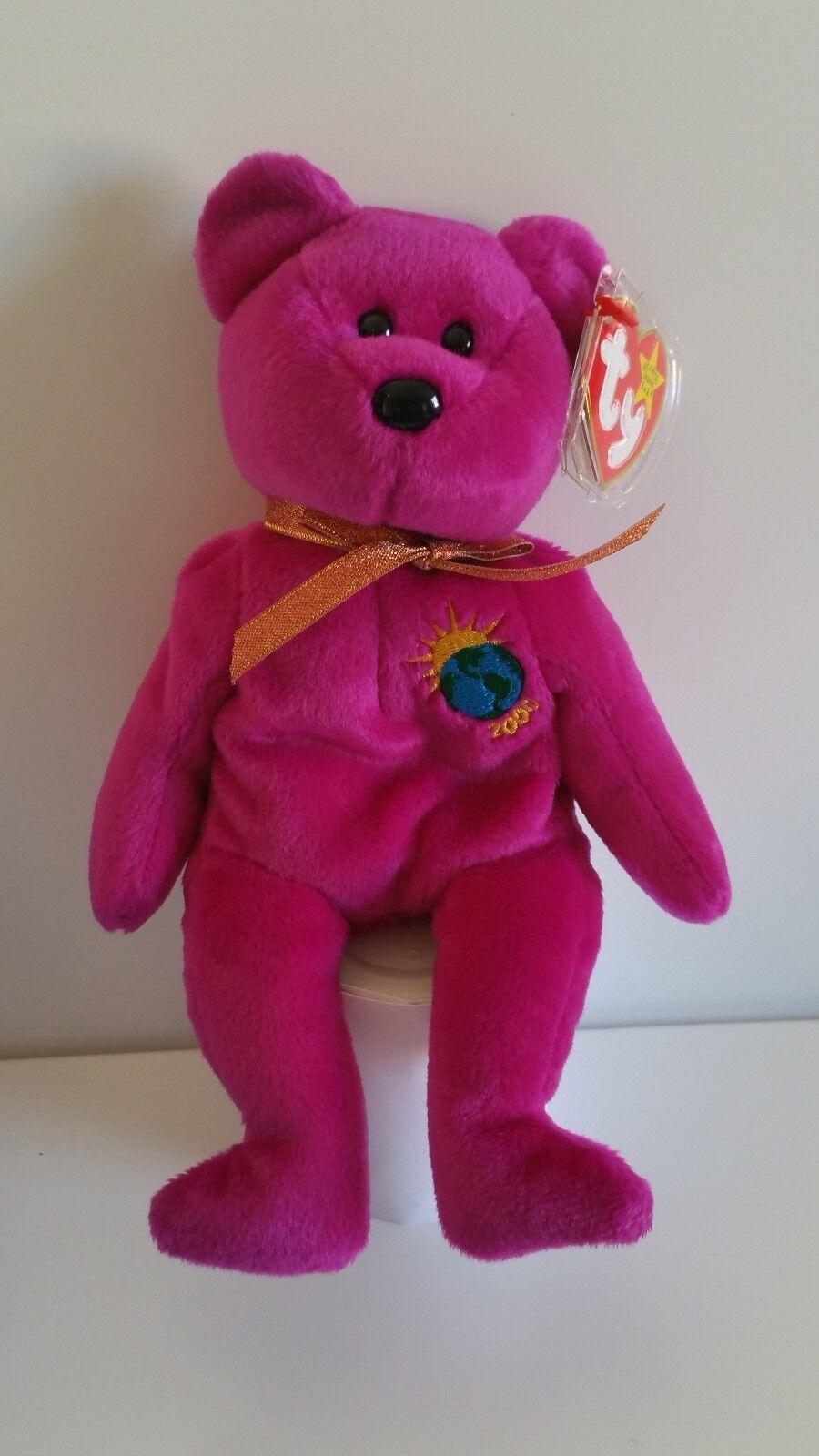 Millennium Bear Ty Beanie Baby - Rare Retired BB Bear 10 Mill