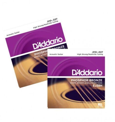 High Strung//N Phosphor Bronze Acoustic Guitar Strings D/'Addario EJ38H X2 PACK
