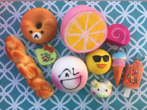 10 Brand New Squishies Jumbo Keychain Squishy Party Favor Fragrant Kawaii Pkg J