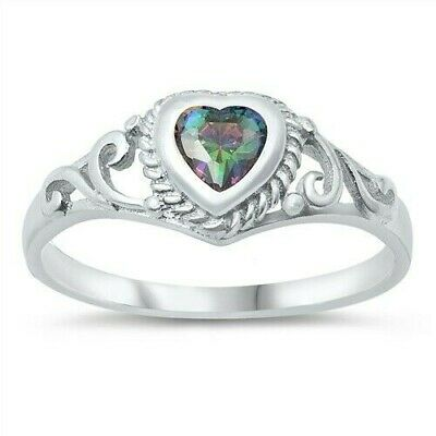 USA Seller Claddagh Ring Sterling Silver 925 Best Price Jewelry Rainbow Topaz CZ