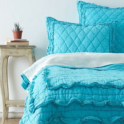 New Casey Teal Quilt and Sham Seperates by Quiltbay