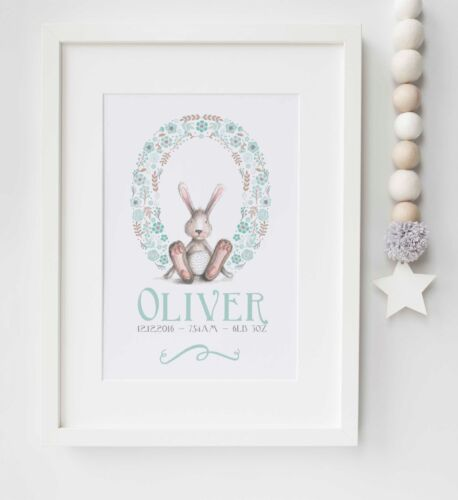 Personalised New Baby Bunny Rabbit Name Nursery Picture Print Keepsake UNFRAMED