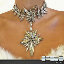 Women Silver Crystal Rhinestone Choker Collar Star Pendant Chain Fashion Jewelry