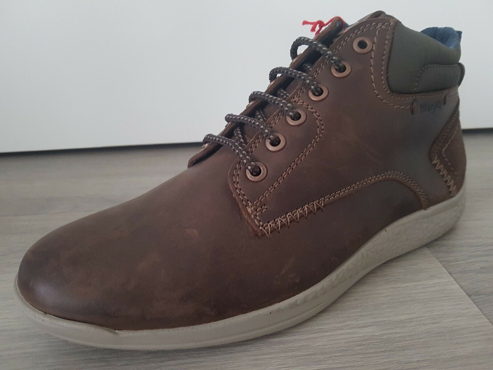 NEW Mens UK 8 EU 42 Wrangler WR560 Lace up dark brown Leather Ankle Boots