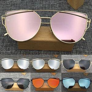 Women-039-s-Glasses-Metal-Flat-Lens-Vintage-Fashion-Mirrored-Oversized-Sunglasses