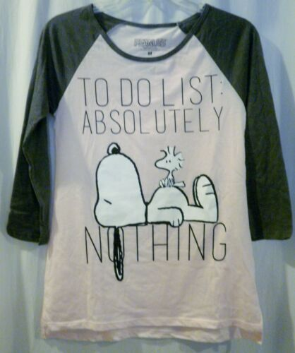 Peanuts Snoopy & Woodstock To Do List Absolute Nothing Shirt Size M