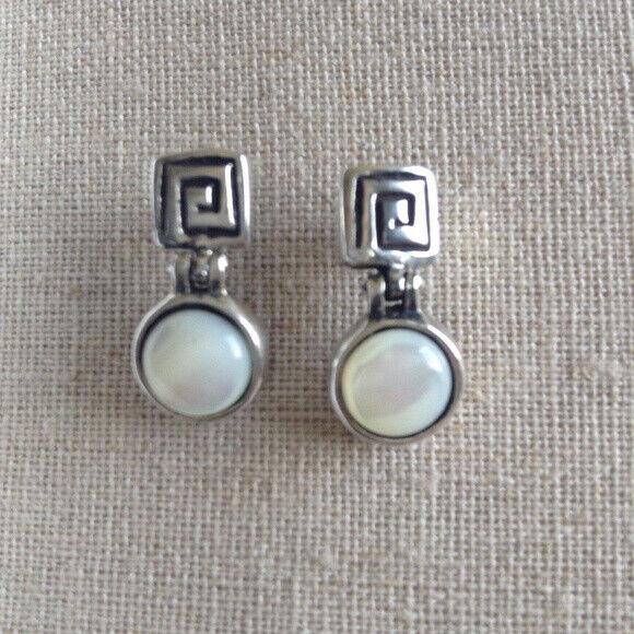 RARE Silpada P0579 Mother of Pearl Post Earrings Greek Key HTF .925 Geometric