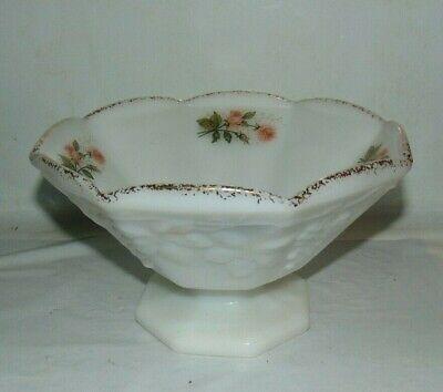 Pedestal Raised Grapevine Design Anchor Hocking Milk Glass Bowl With Gold Trim
