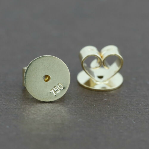 Genuine 18CT Solid Yellow Gold Disc Butterfly Earring Backs 6mm 1 Pair