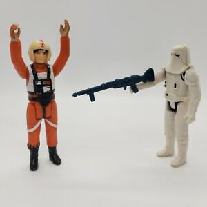 Vintage-1978-Kenner-Star-Wars-Luke-X-Wing-Pilot-Snowtrooper-w-Rifle-Figure-Lot