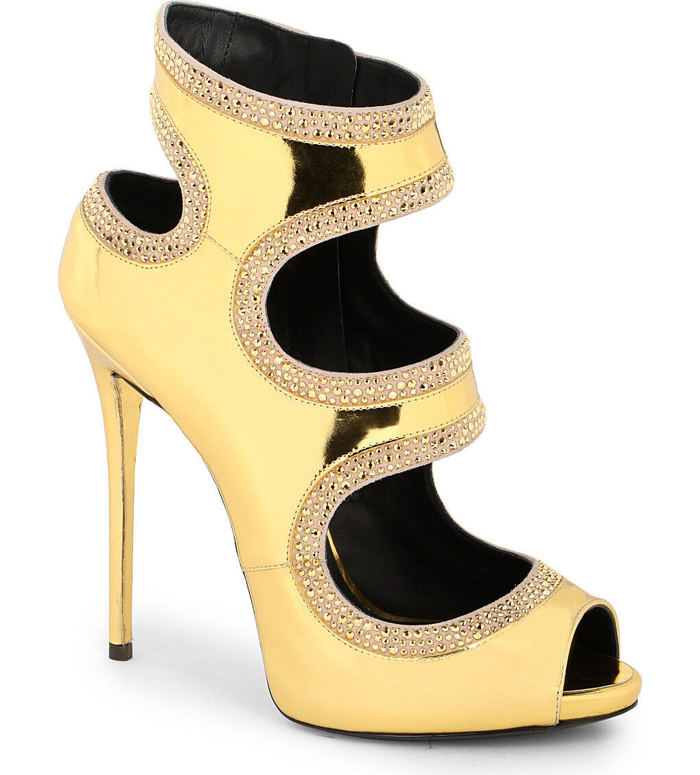 Giuseppe Sz Zanotti Gold Swarowski Embellished patent-Leder heeled Sandales Sz Giuseppe 36 1112f6