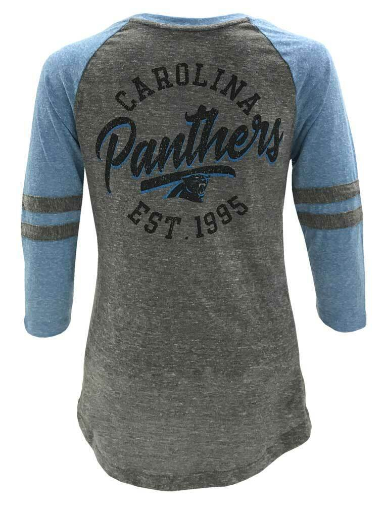 New Era Womens NFL Carolina Panthers Lace-Up Tee T-Shirt Stripe Sleeve 70021L