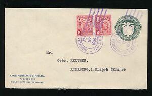 PANAMA 1930 STATIONERY ENVELOPE UPRATED