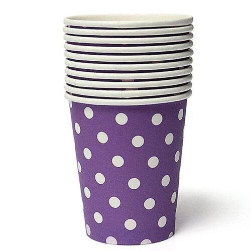 Kraftz ® 10pcs violet à pois papier verres jetables fête d/'anniversaire vaisselle