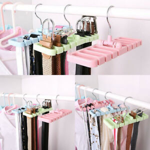 Closet-Storage-Rack-Tie-Belt-Scarf-Organizer-Space-Saver-Rotating-Hanger-Holder