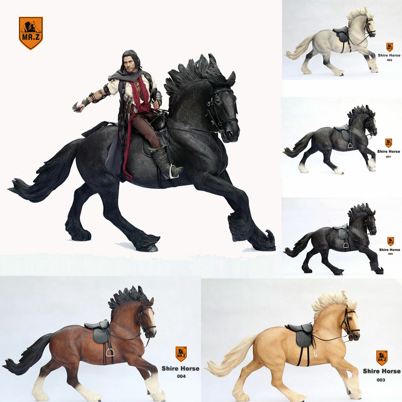 "1//6 Mr.Z British Shire Horse Animal Doll Model SH001-005 Fit 12/"" Figure NEW"