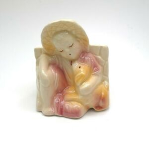 Adorable Shawnee Pottery Planter Sleeping Boy With His Dog