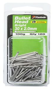 Paslode-BULLET-HEAD-NAILS-100g-Bright-Steel-Aust-Brand-30x2mm-Or-40x1-60mm