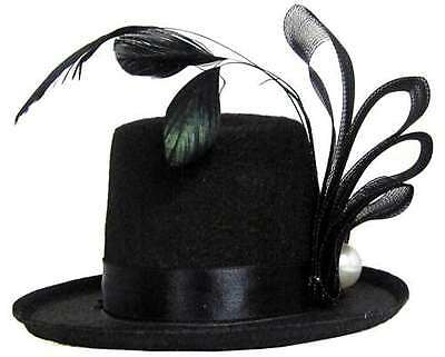 Mini Top Hat with Feathers - Gothic Lolita Steampunk Costume Accessory