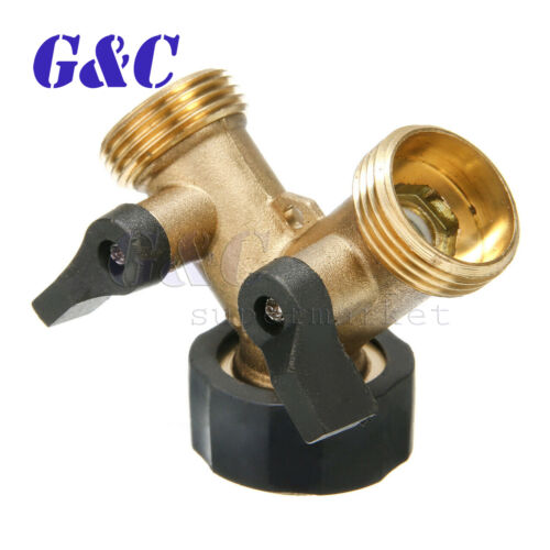 "3//4/"" 2 Way Double Splitter Valve Garden Water Tap Hose Pipe Faucet Connector"