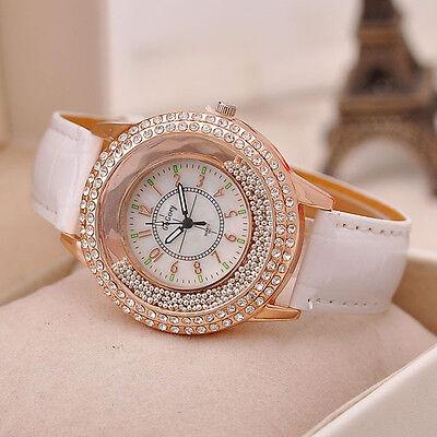 Mode Montre de luxe chic diamant strass montre femme Casual Quartz en cuir gift