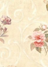 Walpaper Hydrangea, Rose Toss On Cream Faux With Scroll