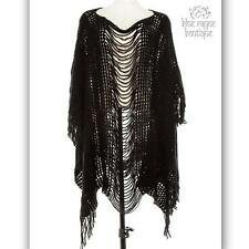 Asymmetrical Black Bohemian Gypsy Fringed Open Knit Festival Shawl Poncho Ruana