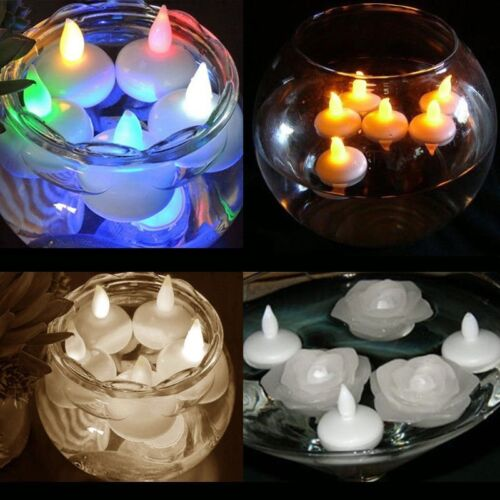 12x Floating Waterproof Battery LED Tea Light Candles Amber Or Colour Changing
