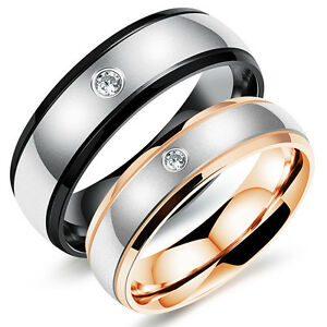 Cz Stainless Steel Wedding Rings Menwomens Titanium Engagement