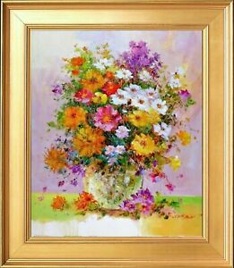 Framed Still Life Bouquet Signed Impressionism Original Painting Oil on Canvas