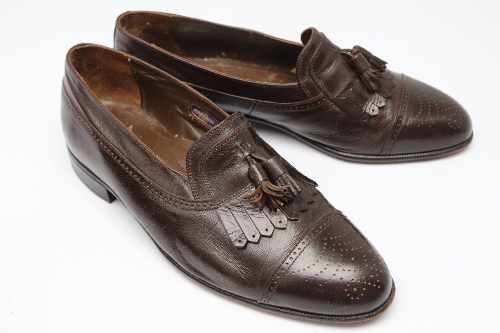 Florsheim Cap Toe Tassel Kiltie Loafers 7.5 EEE 3E Brogue Brown Leather shoes