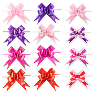 10Pcs-Ruban-Tirer-Noeuds-Fleur-Decoration-De-Mariage-Emballage-Cadeau-Bricol-FE