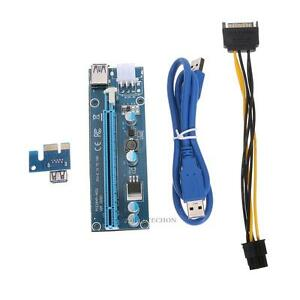 60cm-USB3-0-Pcie-PCI-E-Express-1x-To-16x-Extender-Riser-Card-Adapter-Power-Cable