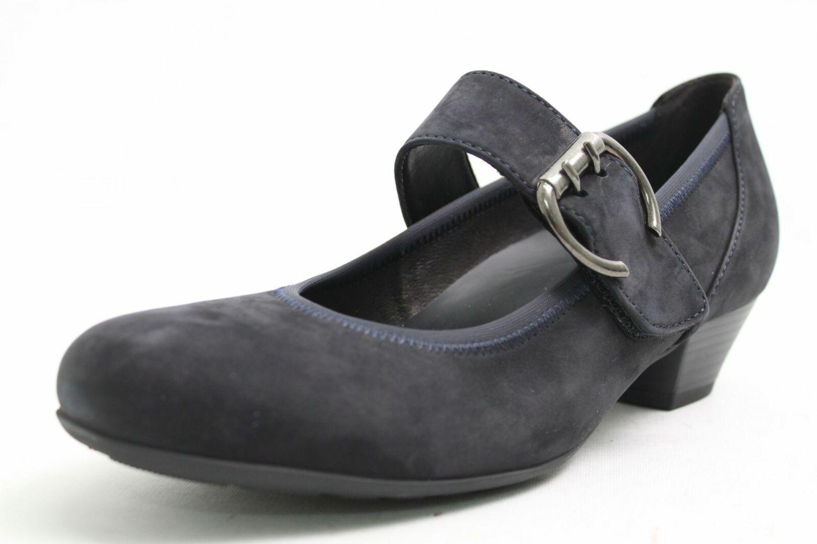 Gabor Escarpins Navy Bleu vraiment Nubuk Cuir Velcro Chaussure Largeur H Femmes