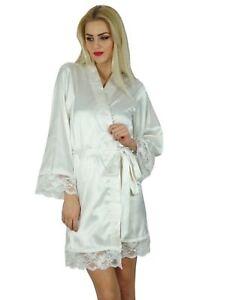 2e491fb382 Image is loading Bimba-Women-Kimono-Sleeve-Satin-Short-Robe-Getting-