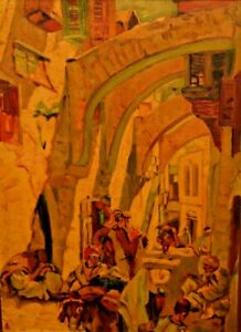 GEORGES LACOMBE Original Orientalist Impressionist Street Cityscape Oil Painting
