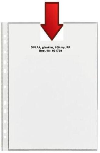 1000x STARKE A4 Prospekthülle GLASKLAR 100my Klarsichthülle mit Abheftrand