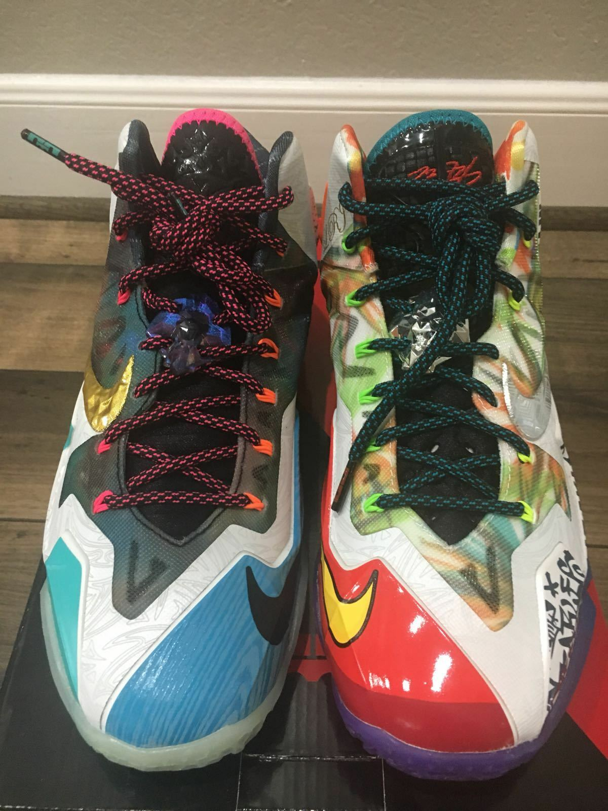 Nike Lebron XI Premium  WHAT THE LEBRON  shoes BLACK GALAXY blueE size 8 [650884]