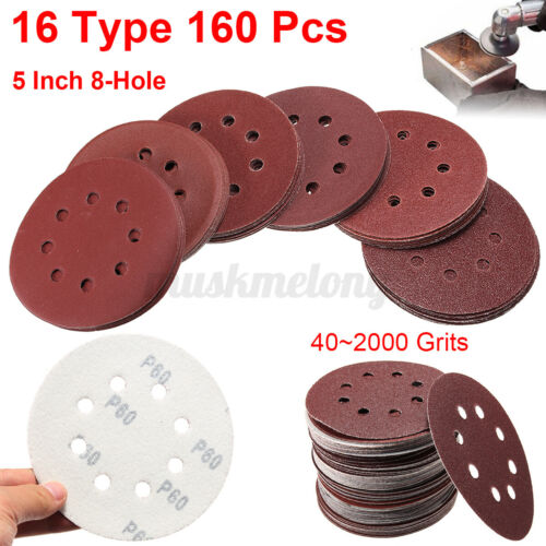 160 Pcs 5/'/' 8 Holes Hook Loop Sanding Discs 40-2000 Grit Sander Sandpaper Pads